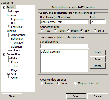 PuTTY Session Configuration
