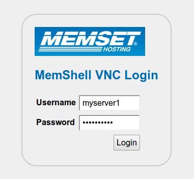 Logging on to MemShell VNC