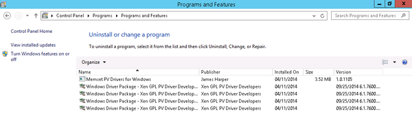 Windows Installed Programs GPL-PV Drivers