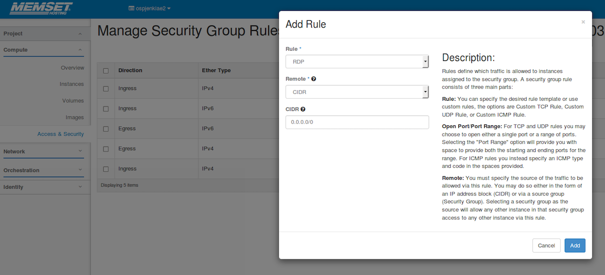 OpenStack RDP Security Groups